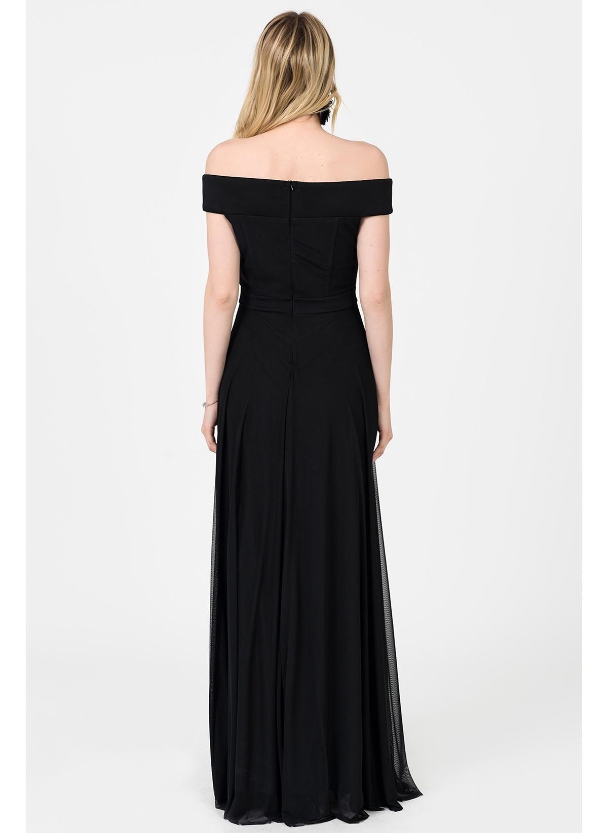 b4ec0a36b36e3 İroni Kadın Kayık Yaka Uzun Abiye Elbise Sıyah | Morhipo | 21619773
